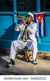 La Havana, Cuba -?? December 26, 2016: cuban portrait series, Trumpet player on street