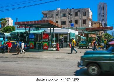 La Havana, Cuba - May 2016 : Gas station