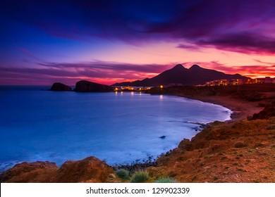 La Isleta del Moro coast of the natural park of Cabo de Gata, Almeria, Spain. This photo make long expusore and ND8 filter