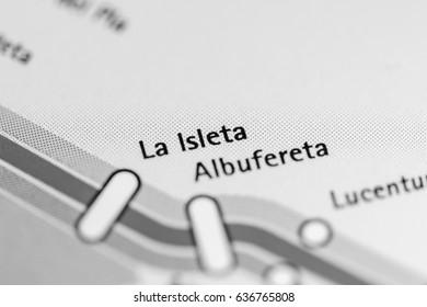 La Isleta Station. Alicante Metro map.