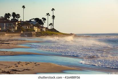 La Jolla beach sunset.  San Diego, California USA.