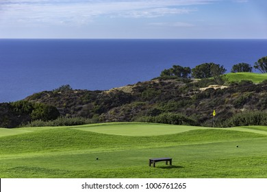 LA JOLLA, CALIFORNIA, USA - NOVEMBER 6, 2017: Golf Course at Torrey Pines with Pacific Ocean in the background La Jolla California USA near San Diego