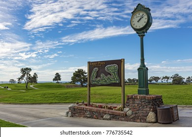 LA JOLLA, CALIFORNIA, USA - NOVEMBER 6, 2017: The South Course sign and map beside the Rolex clock on the first tee of Torrey Pines golf course near San Diego.