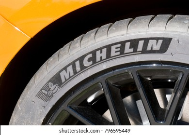 LA JOLLA, CA/USA - JANUARY 13, 2018: Michelin tire mounted on rim. Michelin is a French tyre manufacturer.