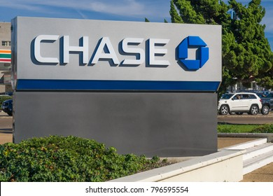LA JOLLA, CA/USA - JANUARY 13, 2018:  Chase Bank exterior. Chase is a consumer and commercial banking subsidiary of the multinational banking corporation JPMorgan Chase.