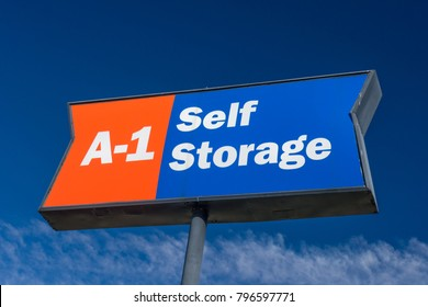 LA JOLLA, CA/USA - JANUARY 13, 2018:  A-1 Self Storage sign and trademark. A-1 is an American moving equipment and storage rental company.