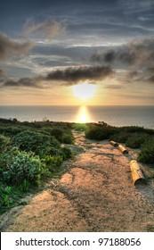 La Jolla Cliffs Sunset near UCSD, San Diego, CA