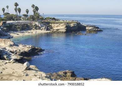 La Jolla Cove on beautiful sunny day with clear calm ocean