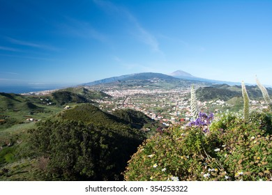 La Laguna and Mountains Anaga in spring, Canary Island