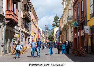 la laguna, tenerife. 13th June, 2019: colorful streets of la laguna colonial town in tenerife island, Spain