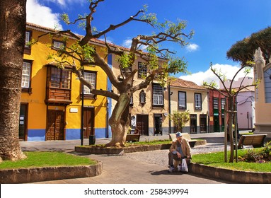 La Laguna, Tenerife, Spain - April 1, 2013: Street in the famous town, old capital of Tenerife - San Cristobal de La Laguna (Tenerife, Canary islands, Spain). It's a UNESCO World Heritage Site.