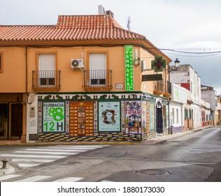 La Linea de la Concepcion Cadiz Spain October 5 2019 Street corner in the city. Pharmacy that is open 12 hours every day. Empty street in La Linea de la Concepcion on the border to Gibraltar.