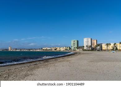 La Linea de la Concepcion, Spain - 22 January 2020: view of La Linea de la Concepcion and the Playa de Poniente beach