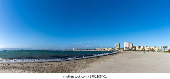 La Linea de la Concepcion, Spain - 22 January 2020: panorama view of La Linea de la Concepcion and the Playa de Poniente beach