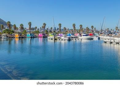 LA LINEA DE LA CONCEPTION, SPAIN - AUGUST 16, 2021: Houseboats at Alcaidesa Marina, Andalusia, Spain