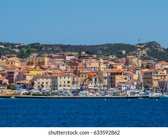 LA MADDALENA, ITALY - JULY 26, 2016 - Summer view from the sea of the port of La Maddalena, a picturesque town in Sardinia, Italy