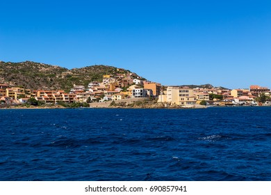 La Maddalena, Italy. View of the city from the sea side