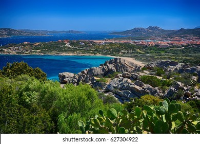 La Maddalena, Palau, Sardinia. Beautifull view of crystal clear water and islands.