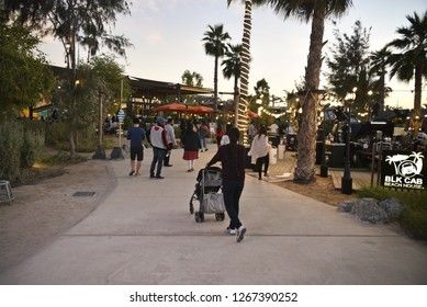 La Mer Beach and discrict by Meraas , Dubai, United Arab Emirates, December 25, 2018, La mer Beach located in Jumeira Dubai, the beach with lot of restaurant and playground for kids