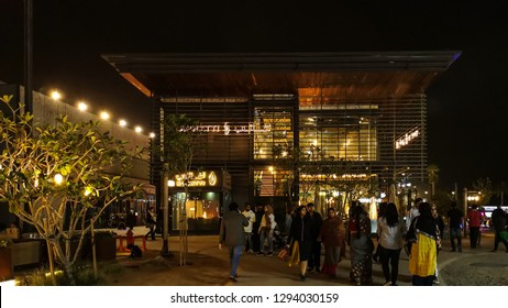 La Mer Beach Resort and outdoor shopping are at night, a new district with shopping and restaurants in Jumeirah, Dubai, UAE - Dubai, UAE - January 20, 2019