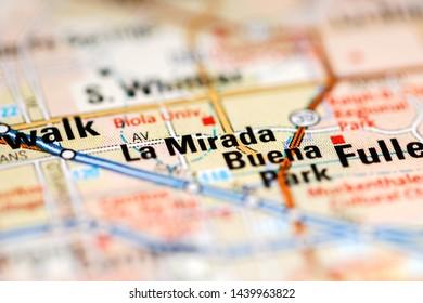 La Mirada. California. USA on a geography map