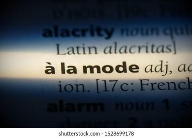 a la mode word in a dictionary. a la mode concept, definition.
