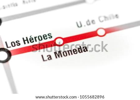 Chile Subway Map.La Moneda Station Santiago Metro Map Stock Photo Edit Now
