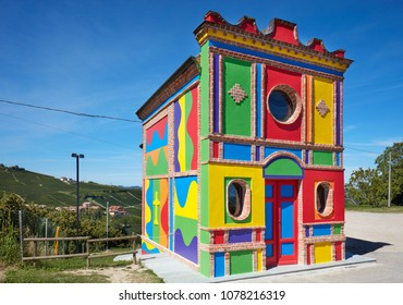 LA MORRA, ITALY - AUGUST 6: Cappella del Barolo, little colorful church by Sol Lewitt in a sunny summer day in Piedmont on August 6, 2016 in Barolo, Italy.