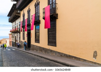 LA OROTAVA, TENERIFE - 23 MARCH 2018: Popular with tourists, La Casa de los Balcones is a historic house and a museum in La Orotava on the island of Tenerife in the Canary Islands.