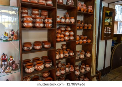 LA OROTAVA, TENERIFE, CANARY ISLANDS, SPAIN - JULY 25, 2018: The interior of a small shop of souvenirs and gifts made of ceramics and clay.