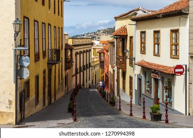 LA OROTAVA, TENERIFE, CANARY ISLANDS, SPAIN - JULY 25, 2018: Streets and houses of the old town in the historic center.