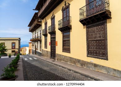 LA OROTAVA, TENERIFE, CANARY ISLANDS, SPAIN - JULY 25, 2018: The facade of the museum Casa de los Balcones in the historic center of the old town.