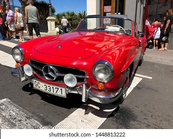 La Orotava, Tenerife, Spain - June 23, 2019: exhibition of classic and vintage cars, red Mercedes-Benz 190 SL car