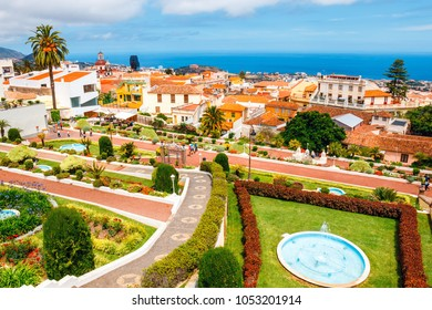 La Orotava, Tenerine, Spain, June 11, 2015: Unknown tourists visit the tropical botanical gardens in La Orotava town, Tenerife, Canary Islands