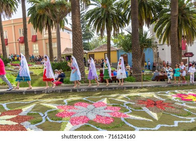 la Orotava,Tenerife/Spain - June 22 : Flower carpets in la Orotava during Corpus Christi June 22, 2017 la Orotava Tenerife Spain