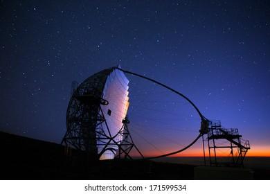 LA PALMA, CANARY ISLANDS, SPAIN - JULY 12, 2012: Magic telescope at night in ORM observatory at Roque de los Muchachos in La Palma, Canary, Spain, July 12, 2012. Is a gamma-ray high sensivity mirror.