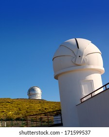 LA PALMA, CANARY ISLANDS, SPAIN - JULY 12, 2012:ORM observatory IAC institute at Roque de los Muchachos with GTC in background in La Palma, Canary, Spain, July 12, 2012.