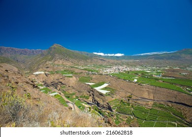 La Palma, Canary Islands, view from viewpoint Mirador el Time towards Los Llanos de Aridane on the plains below