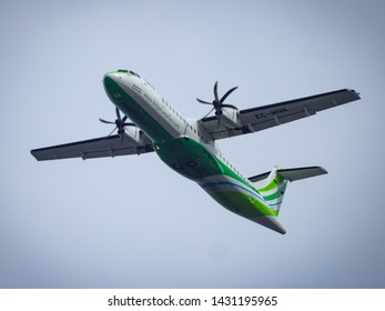 La Palma, Spain - May 15, 2019: Binter Canarias ATR 72 is taking off from La Palma airport.