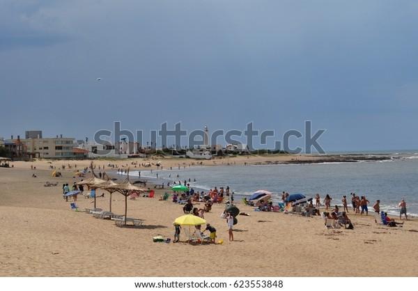 LA PALOMA, URUGUAY - JANUARY 20, 2017: General view of La Paloma beach in, Rocha, Uruguay