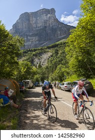 LA PALUD,FRANCE,JUL 13:Amateur cyclists climbing the road to mountain pass Granier in the Alps before the passing of the peloton in the 12 stage of the Le Tour de France on July 13 2012 in La Palud