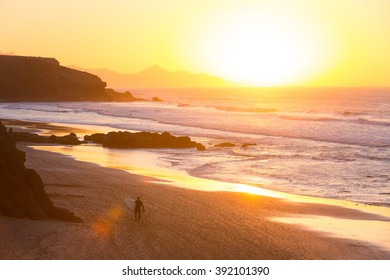 La Pared surfers beach in sunset, Fuerteventura, Canary Islands, Spain