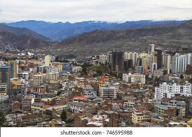 La Paz aerial view, Bolivia. La Paz is the worlds highest capital. Landscape of La Paz