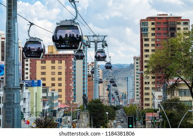 LA PAZ, BOLIVIA - 29 MARCH 2018: Mi Teleferico - aerial cable car urban transit system carries passengers in the city of La Paz