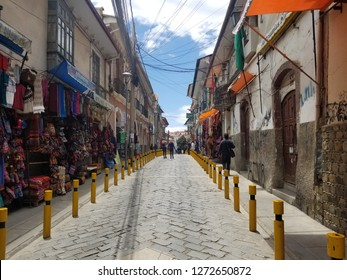 LA PAZ, BOLIVIA, DEC 2018: La Paz, Bolivia streets in city center on a bright summer day