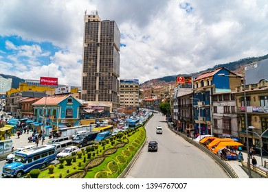 LA PAZ, BOLIVIA - FEBRUARY 4, 2016 : Cityscape and traffic on the main road Avenida Ismael Montes of La Paz, Bolivia