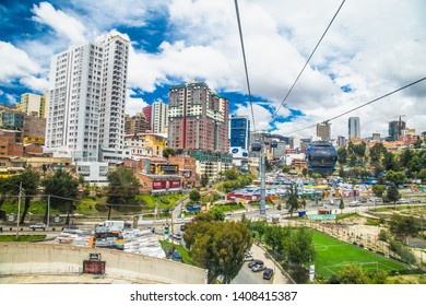 La Paz, Bolivia- Jan 2, 2019: Aerial view of La Paz with Teleferico Cable car. Bolivia.