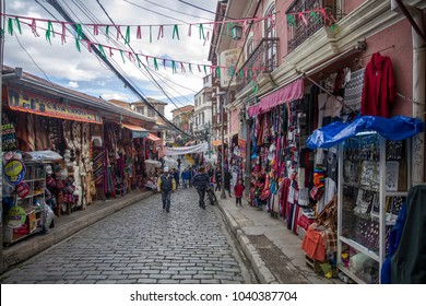 LA PAZ, BOLIVIA - JANUARY 10, 2018: Unidentified people on the Witches market in La Paz, Bolivia. It is a popular tourist attraction located in Cerro Cumbre.
