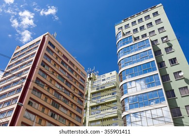 LA PAZ, BOLIVIA, JANUARY 4: Modern residential buildings in La Paz against a blue sky. Bolivia 2015