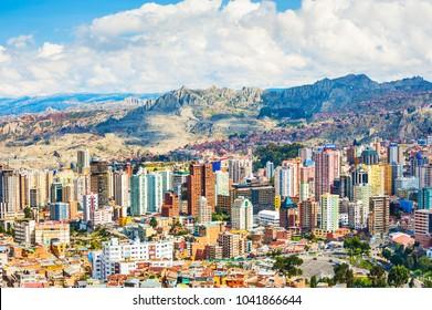 La Paz, Bolivia - March, 25, 2017: Panoramic view of La Paz city, Bolivia